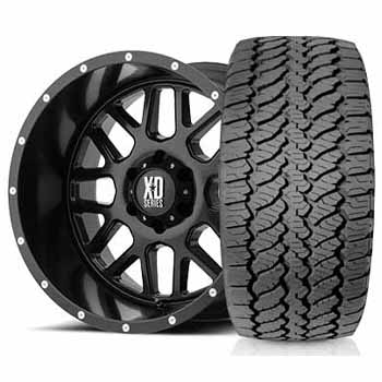 kmc xd820 grenade satin black wheel and  tyres